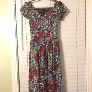 Vintage Floral Off the Shoulder Dress